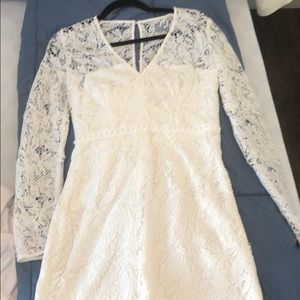 White lace long sleeve mini dress, size 2